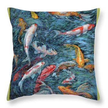 Clear Creek Koi With Painted On Mat Throw Pillow