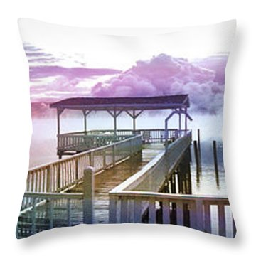 Clouds On Clear Lake Throw Pillow by Kathy Kelly