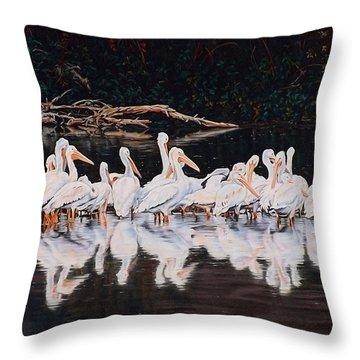 Clear Lake Pelicans Throw Pillow