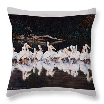 Clear Lake Pelicans Throw Pillow by Linda Becker