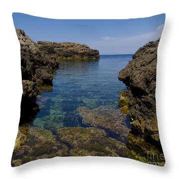 Clear Water Of Mallorca Throw Pillow