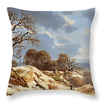 Clear Winter's Day By The Baltic Sea Throw Pillow