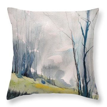 Clearing By The Riverbank Throw Pillow