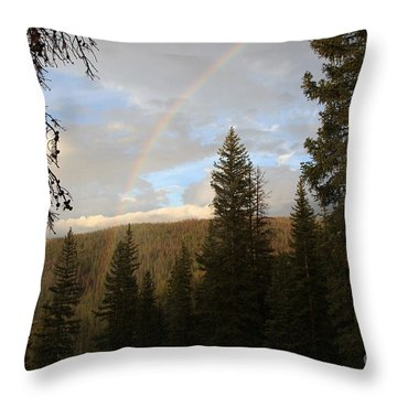 Clearing Rain And Rainbow Throw Pillow