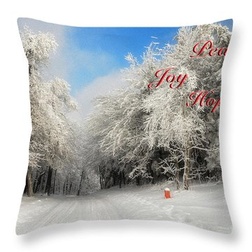 Clearing Skies Christmas Card Throw Pillow by Lois Bryan