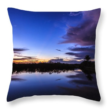 Clearing Storm Over The Anhinga Trail Throw Pillow by Jonathan Gewirtz