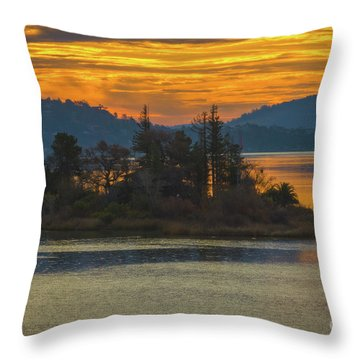 Clearlake Gold Throw Pillow by Mitch Shindelbower