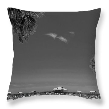 Clearwater Beach Bw Throw Pillow by Adam Romanowicz