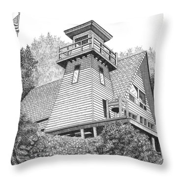 Cleft Of The Rock Lighthouse Throw Pillow by Lawrence Tripoli