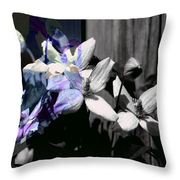 Clematis 2 Shades Of Grey Throw Pillow