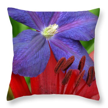 Clematis And Lily Throw Pillow