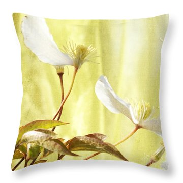Clematis And Sunshine Throw Pillow