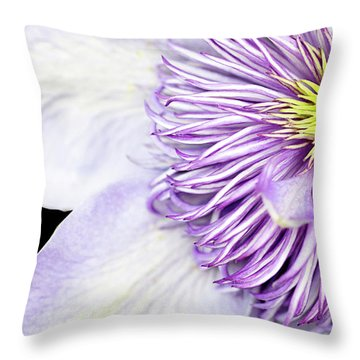 Throw Pillow featuring the photograph Clematis Center by Rebecca Cozart