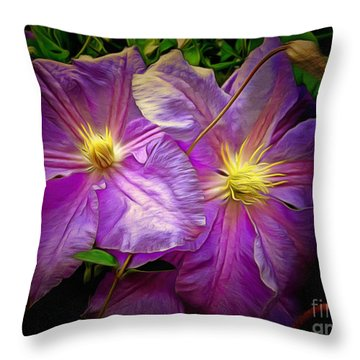 Clematis Azure Pearl Throw Pillow