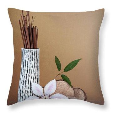Clematis Flower Still Life Throw Pillow