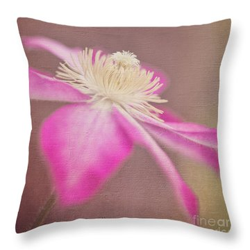 Clematis In Square Format Throw Pillow by Laurinda Bowling