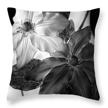 Clematis Overlay Throw Pillow by Jessica Jenney