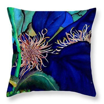 Clematis Regal In Purple And Blue Sold Throw Pillow by Lil Taylor