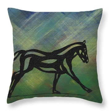 Clementine - Abstract Horse Throw Pillow