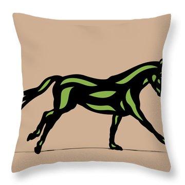 Clementine - Pop Art Horse - Black, Geenery, Hazelnut Throw Pillow