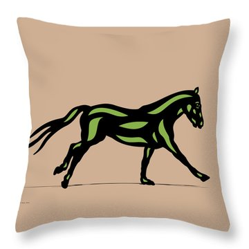 Clementine - Pop Art Horse - Black, Geenery, Hazelnut Throw Pillow