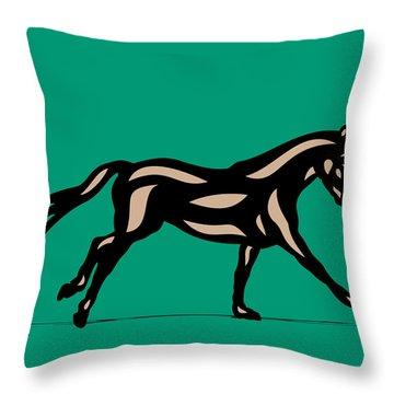 Clementine - Pop Art Horse - Black, Hazelnut, Emerald Throw Pillow