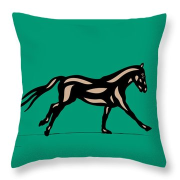Clementine - Pop Art Horse - Black, Hazelnut, Emerald Throw Pillow