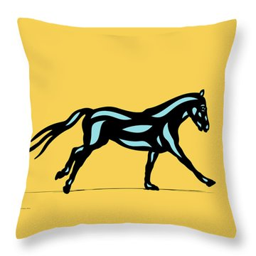 Clementine - Pop Art Horse - Black, Island Paradise Blue, Primrose Yellow Throw Pillow
