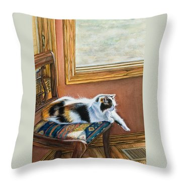 Cleo In The Sun Throw Pillow by Laurie Tietjen
