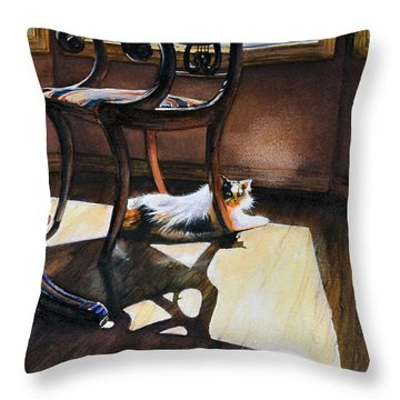Cleo Loves The Sun Throw Pillow by Laurie Tietjen