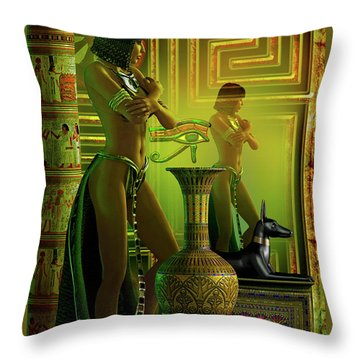 Throw Pillow featuring the digital art Cleo Reflections by Shadowlea Is