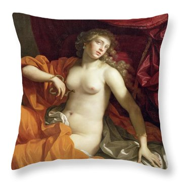 Cleopatra Throw Pillow by Benedetto the Younger Gennari