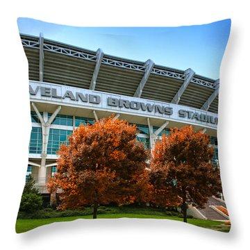 Cleveland Browns Stadium Throw Pillow by Kenneth Krolikowski
