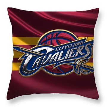 Cleveland Cavaliers - 3 D Badge Over Flag Throw Pillow