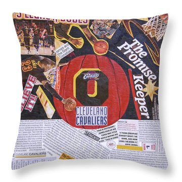 Throw Pillow featuring the painting Cleveland Cavaliers 2016 Champs by Colleen Taylor