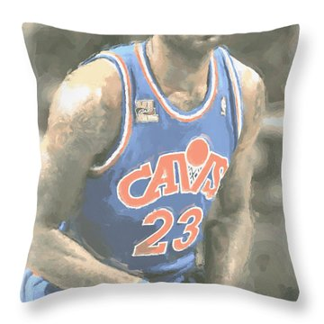 Cleveland Cavaliers Lebron James 1 Throw Pillow by Joe Hamilton