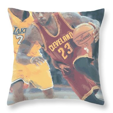 Cleveland Cavaliers Lebron James 3 Throw Pillow by Joe Hamilton