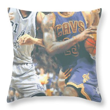 Cleveland Cavaliers Lebron James 4 Throw Pillow by Joe Hamilton