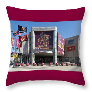 Throw Pillow featuring the photograph Cleveland Cavaliers The Q by Dale Kincaid