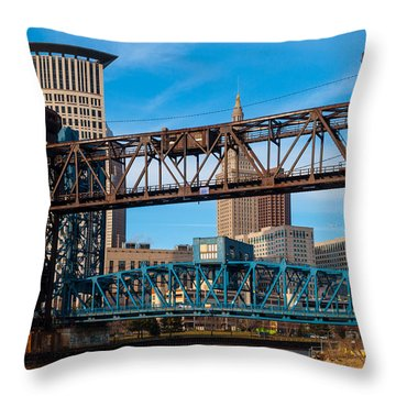 Cleveland City Of Bridges Throw Pillow