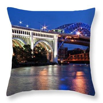 Cleveland Colored Bridges Throw Pillow