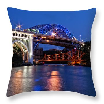 Cleveland Colored Bridges Throw Pillow