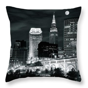Cleveland Iconic Night Lights Throw Pillow