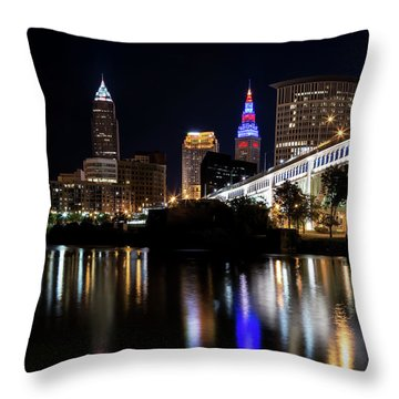 Throw Pillow featuring the photograph Cleveland In The World Series 2016 by Dale Kincaid