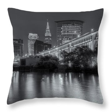 Cleveland Night Skyline IIi Throw Pillow by Clarence Holmes