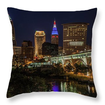 Cleveland Nightscape Throw Pillow