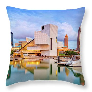 Throw Pillow featuring the photograph Cleveland  Pano 1  by Emmanuel Panagiotakis
