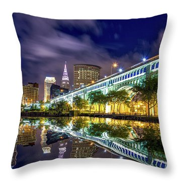 Throw Pillow featuring the photograph Cleveland Skyline 4 by Emmanuel Panagiotakis