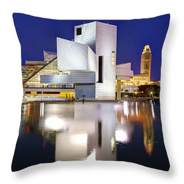 Cleveland Skyline At Dusk Throw Pillow