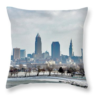 Cleveland Skyline In Winter Throw Pillow